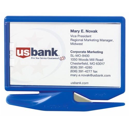blue business card letter opener with staple remover