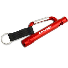 Logo Carabiner Flashlight Whistle with Strap