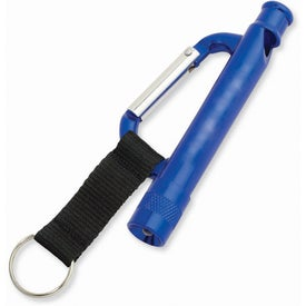 Imprinted Carabiner Flashlight Whistle with Strap