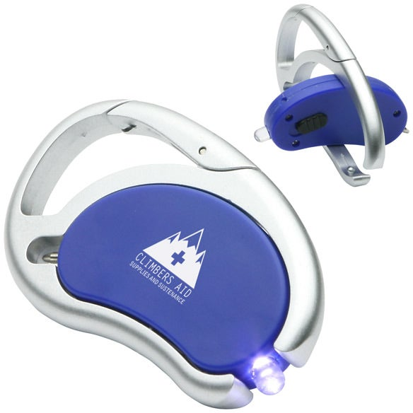 Blue / Silver Carabiner Swivel Light and Pen