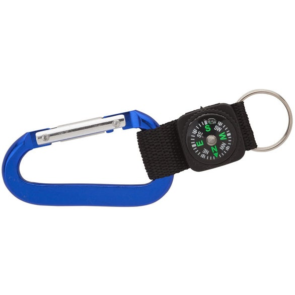 Blue Carabiner with Compass