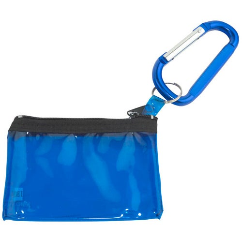 Blue with Translucent Blue Bag Carabiner with Key Tag Pouch