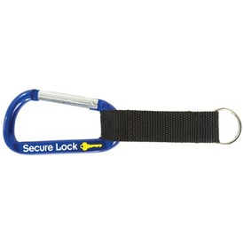 Advertising Carabiner With Strap And Key Ring
