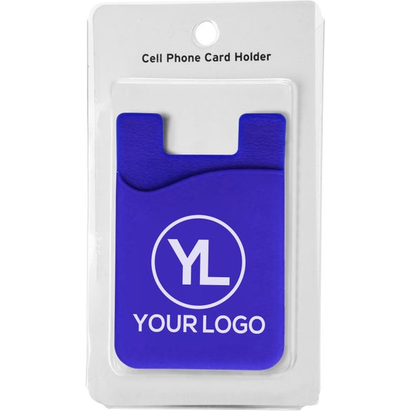 Blue Cell Phone Card Holder with Packaging