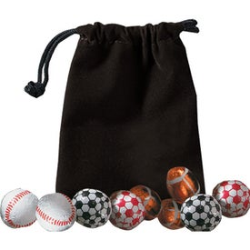 Promotional 5 Chocolate Balls In Velour Pouch