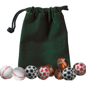 5 Chocolate Balls In Velour Pouch with Your Logo