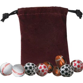 Custom 5 Chocolate Balls In Velour Pouch