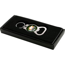 Chrome Bottle Opener Key Chain Imprinted with Your Logo