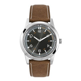 Imprinted Classic Styles Natural Leather Strap Men's Watch