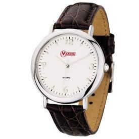 Classic Styles Crocodile Grain Leather Strap Men's Watch