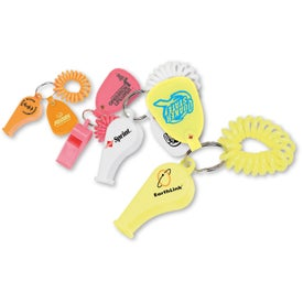 Advertising Coil Wrist Bracelet with Whistle and Tag