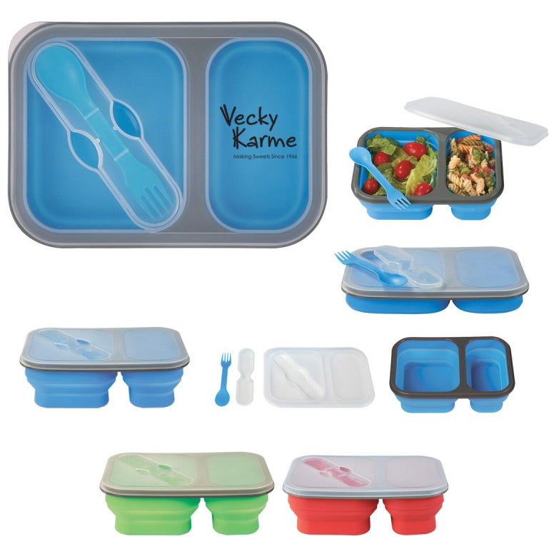 Promotional Collapsible 2 Section Food Container With Dual Utensils