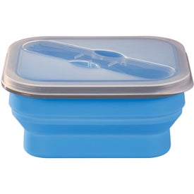 Collapsible Food Container with Dual Utensil with Your Logo