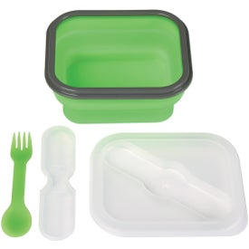 Collapsible Food Container with Dual Utensil Imprinted with Your Logo