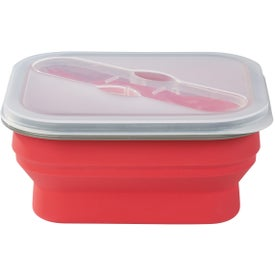 Promotional Collapsible Food Container with Dual Utensil
