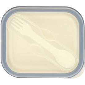 Collapsible Food Container with Dual Utensil Branded with Your Logo