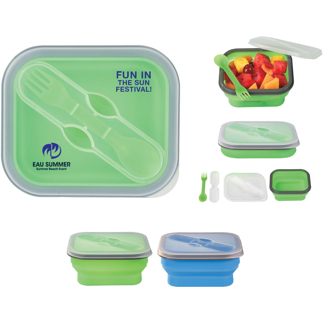 Group Photo Collapsible Food Container with Dual Utensil Customized  sc 1 st  Quality Logo Products & Promotional Collapsible Food Container with Dual Utensils with ...