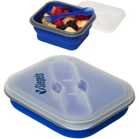 Collapsible Silicone Lunch Box with Fork and Spoon