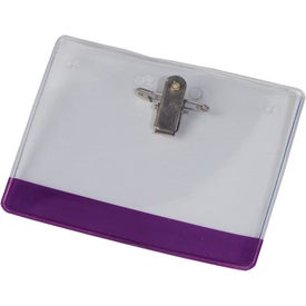 Company Colored Stripe Badge Holder with Bulldog Clip and Pin
