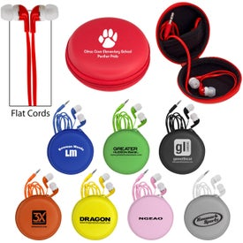 Colorful Premium Ear Buds with Deluxe Case with Your Slogan
