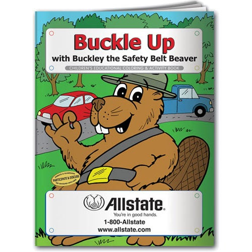 Promotional Coloring Book: Buckle Ups with Custom Logo for $0.322 Ea.