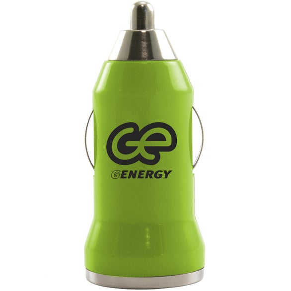 Green Compact USB Car Charger