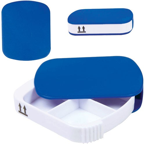 Blue Four Compartment Pill Case
