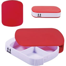 Imprinted Four Compartment Pill Case