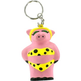 Cool Pig Key Chain Stress Reliever Imprinted with Your Logo