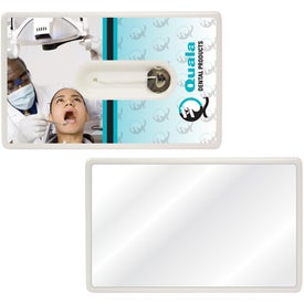 Credit Card Style Dental Floss With Mirror Printed with Your Logo
