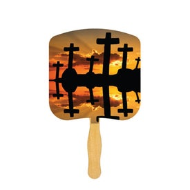 Crosses at Sunset Religious Fan (Full Color)