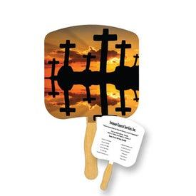 Crosses at Sunset Religious Fan