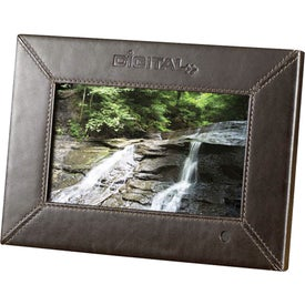 """7"""" Leather Digital Photo Frame Branded with Your Logo"""