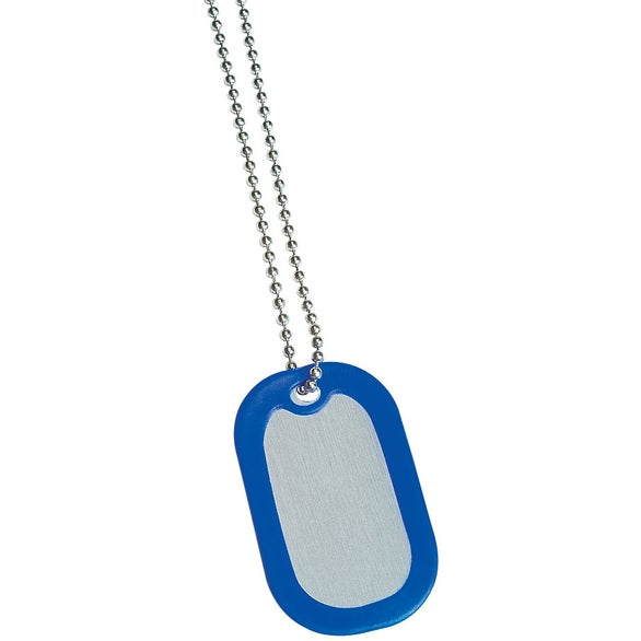 Blue Metal Dog Tags