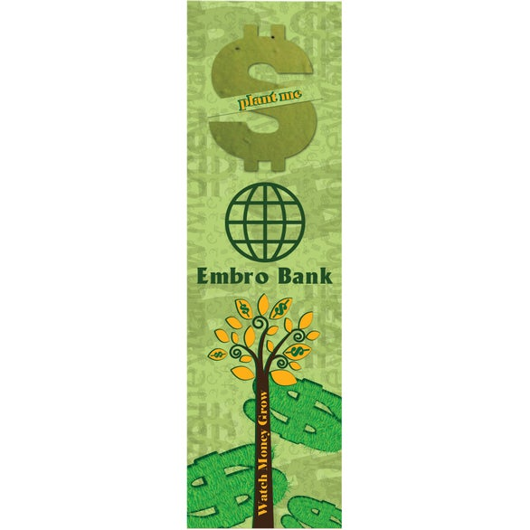 Full Color Imprint Dollar Sign Seed Shape Bookmark