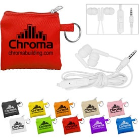 Dual Ear Buds with Mic in Pouch