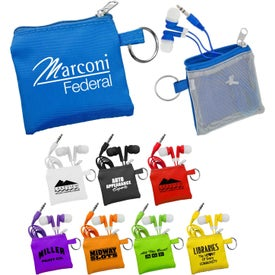 Ear Bud Pouch and Colorful Ear Buds with Your Slogan