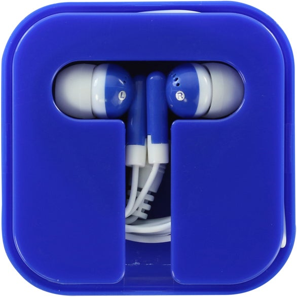 Blue Ear Buds in Compact Case