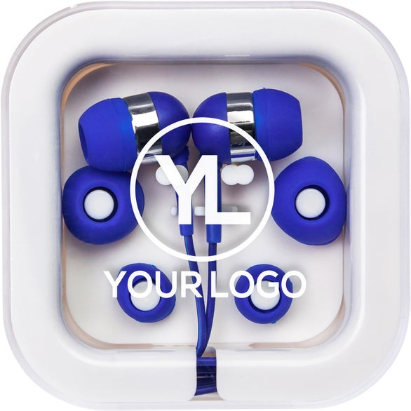 Blue / White Earbuds in Square Case