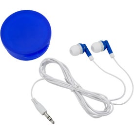 Ear Buds In Round Plastic Case with Your Slogan
