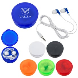 Ear Buds In Round Plastic Case Branded with Your Logo