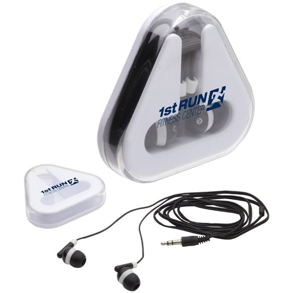 White / Black Earbuds Tri-Caddy