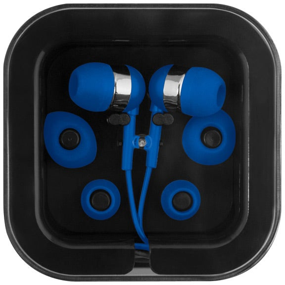 Blue / Black Earbuds with Microphone in Square Case