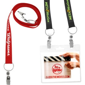 Econo Lanyard with Two Attachment Branded with Your Logo