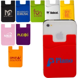 Econo Silicone Mobile Device Pocket Card Holder with Your Slogan