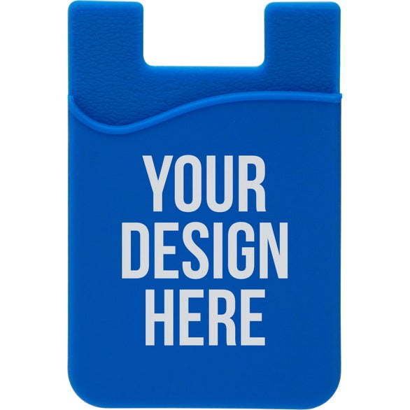 Blue Econo Silicone Mobile Device Pocket Card Holder