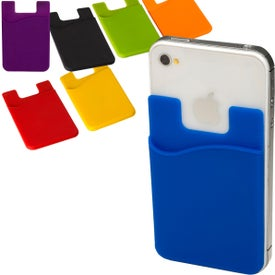 Econo Silicone Mobile Device Pocket Card Holder Printed with Your Logo