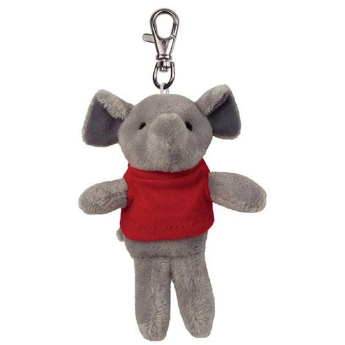 Gray / Red Elephant Plush Key Chain