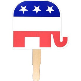 Elephant - Patriotic Hand Fan Printed with Your Logo