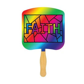 Faith Stained Glass Religious Fan (Full Color)